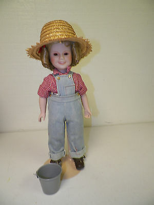 "Danbury Mint Shirley Temple Porcelain Doll With Stand 15""  Overalls"