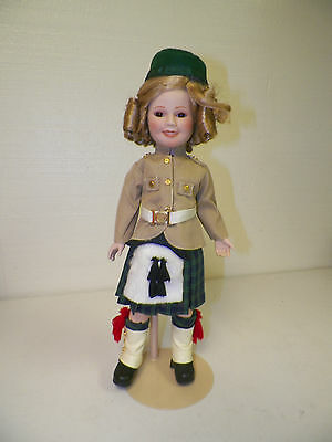 "Danbury Mint Shirley Temple Porcelain Doll With Stand 15"" Scotland"