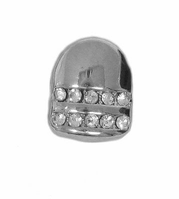 Single Grillz Double line of Ice hiphop bling CHROME / SILVER Tooth Clip