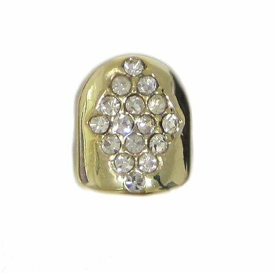 Single Grillz Diamond of Ice hiphop bling 24k Gold plated Tooth Clip