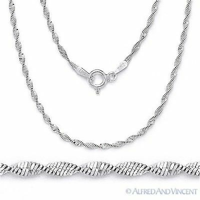 Solid 925 Sterling Silver 1.7mm Twist-Rope Magic-Flex Link Chain Necklace Italy