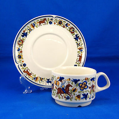 Villeroy and Boch TROUBADOUR Flat Cup and Saucer Set 2.375 in. Flowers Horses