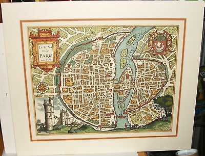 Lvtetia Vulgo Paris Colored Lithograph  Map