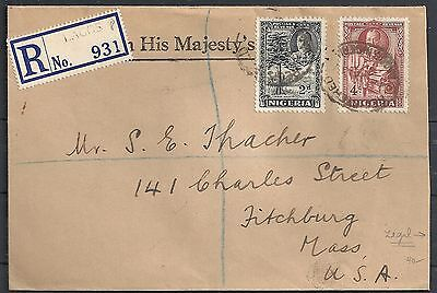 Nigeria 1937 R-cover to Fitchburg