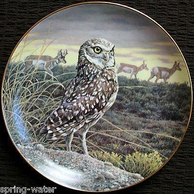 Danbury Mint collector plate Twilight Defender L Cable Owls of North America