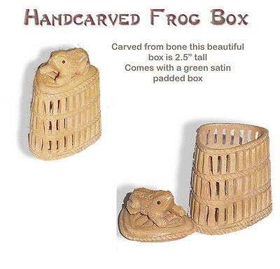 Intricate Hand Carved FROG Box from Bone