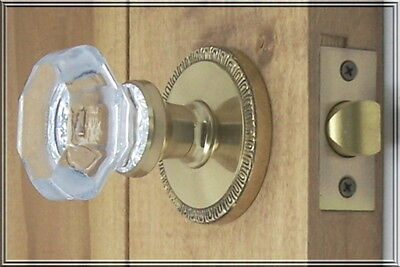 Three sets the Finest 24% Lead Crystal OLD TOWN Passage Door Knob Set-FREE S/H