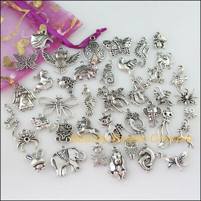 40Pcs Mixed Tibetan Silver Animals Charms Pendants Cat Horse Butterfly etc.F145