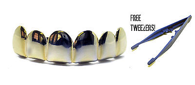 GRILLZ Plain Gold Plated Top Row Hiphop Bling Grillz