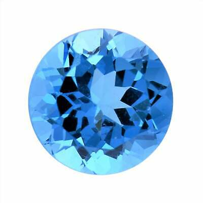 9mm ROUND NATURAL SWISS BLUE TOPAZ GEM GEMSTONE