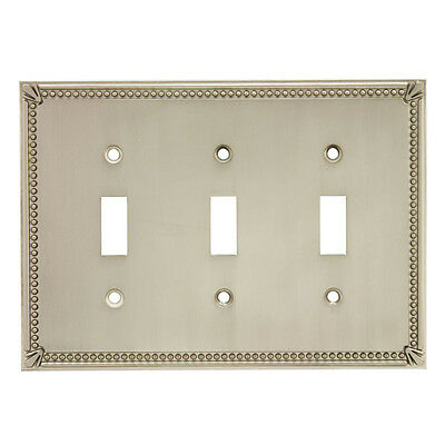 Satin Nickel Triple Toggle Decorative Wall Switchplate Cover 44032-SN