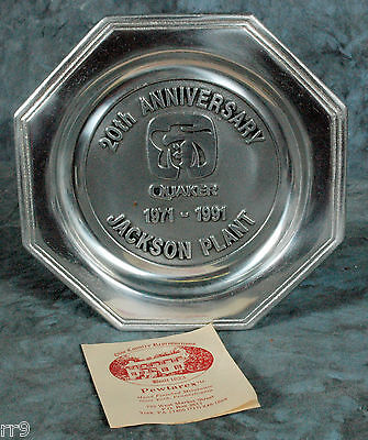 """QUAKER OATS - 20TH ANNIVERSARY 1971-1991 -  Jackson Tennessee Plant 8"""" plate"""