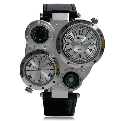 Cool Military Army Dual Time Zones Movements Watch Big Dial Leather Sports Mens