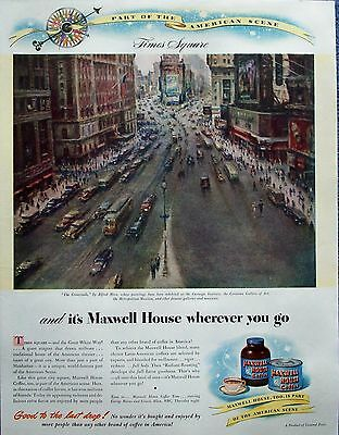 1946 Maxwell House Coffee Times Square Crossroads New York America Mira ad