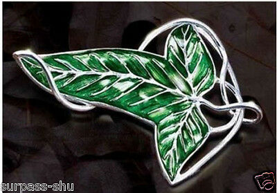 Lord Of The Ring Elven Leave Green Enameled Brooch or Pendant with Chain fashion