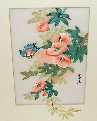 Japanese Floral Butterfly Original Watercolor On Silk Painting Signed