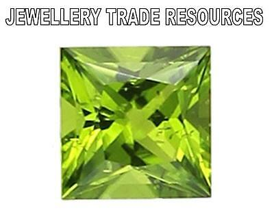 Natural Green Peridot 7mm x 7mm Square Princess Cut Gem Gemstone