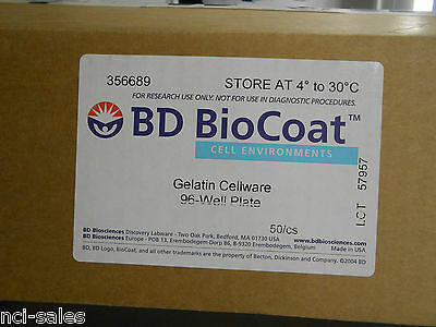 Box Of 50 Becton Dickinson 356689 Biocoat Gelatin Cellware 96-Well Plate
