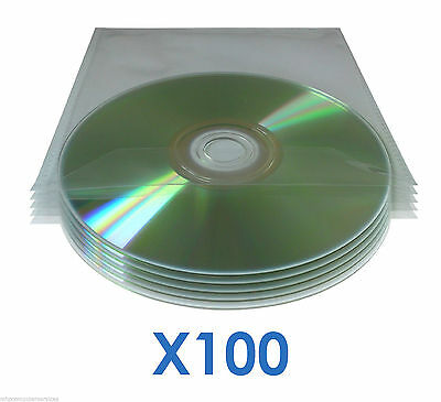 100 x DVD CD Blu-ray Disc Sleeves 120 Micron Clear Wallet Cast Polypropylene CPP