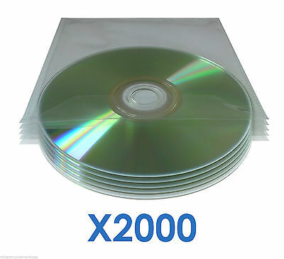 2000x DVD CD Blu-ray Disc Sleeves 120 Micron Clear Wallet Cast Polypropylene CPP