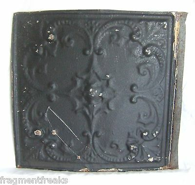 "12"" Reclaimed Tin Ceiling *See Our Videos Antique Black Metal Chic Reclaimed R-4"
