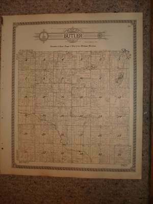 Antique 1915 Butler Township Branch County Michigan Handcolored Map Superb Nr