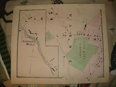 Antique 1871 Dover Sawyers Mills New Hampshire Handcolored Map Fine Rare Nr