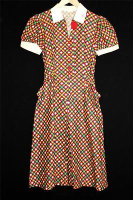 VERY RARE COLLECTOR'S ITEM DEADSTOCK 1930'S DEPRESSION COTTON PRINT DRESS SIZE 4