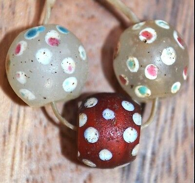 Antique Venetian Red White Lampwork Skunk Eye Italian Glass Beads, African Trade
