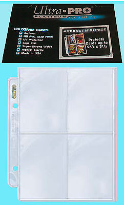 "50 ULTRA PRO PLATINUM 4 POCKET MINI pages 2.5""x3.5"" team set sports card sheets"