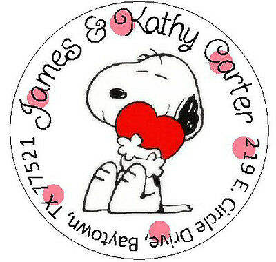 SNOOPY WITH HEART -  Round Return  Address Labels