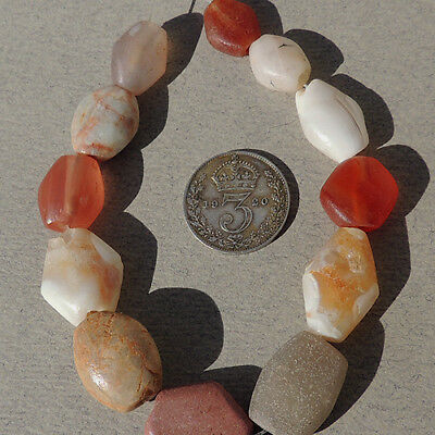 12 great small tabular ancient agate african stone beads mali #962