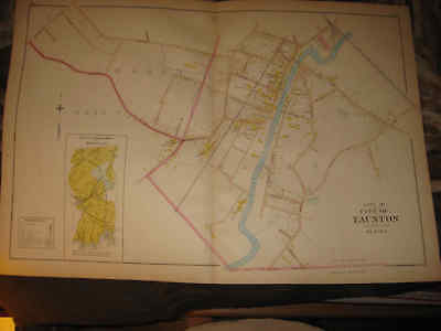 Huge Antique 1895 Taunton Bristol County Massachusetts Handcolored Map Superb Nr