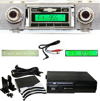 1957 Chevy Radio+ 6 Disc CD Changer + Charge & Play iPod Dock USB Stereo 630 **