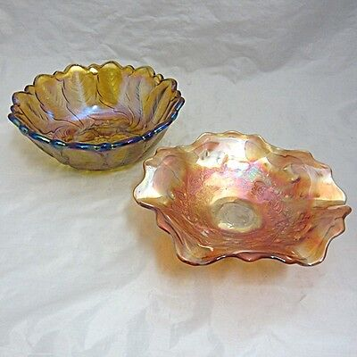 Vintage Two Piece Lot Carnival Glass Aurora Borealis & Marigold Sowerby/LillyPon