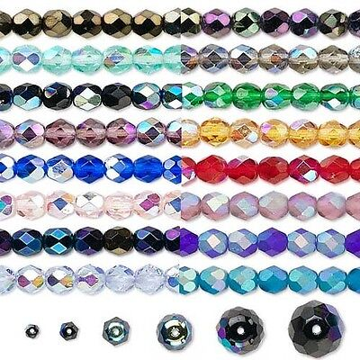 Lot of 1,200 Czech Fire Polish Round Glass Beads in Many Sizes With AB Finish