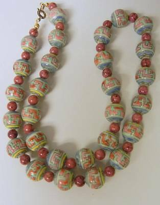 Antique 19C Chinese Porcelain Hand Painted Beaded Necklace RARE