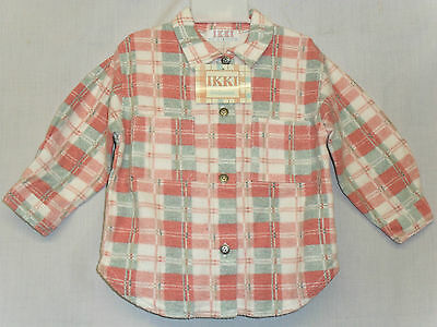 New Baby Girls Brushed Poly Cotton Check Warm Shirt 12-18 18-23 Months Pink Blue