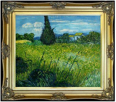 Framed Van Gogh Wheat Field with Cypress Repro Hand Painted Oil Painting 20x24in