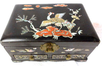 Vintage Chinese Lacquer Box For Tresures or Jewelry Mother Of Pearls