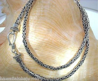 Oxidized Sterling Silver Flattened Oval Dome Palu Bali Byzantine Chain Necklace