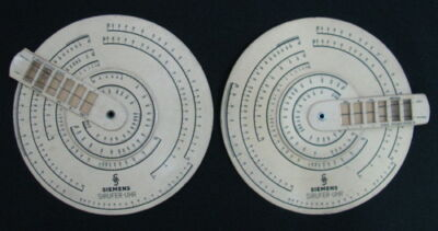 VINTAGE LOT 2 SIRUFER UHR SIEMENS SLIDE RULES COIL CALCULATOR GERMANY PAIR SEE