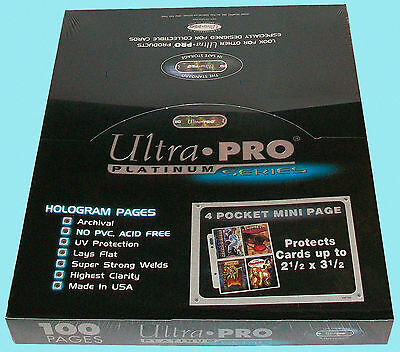 "100 ULTRA PRO PLATINUM 4 POCKET MINI pages 2-1/2""x3-1/2"" team set album sheets"