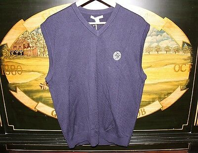 Mens Large Navy Golf Vest 100% Cotton Cutter & Buck EDGEWOOD COUNTRY CLUB 1898