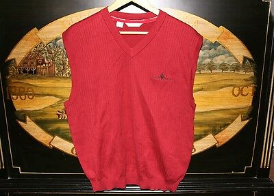 Mens Large Red Golf Vest 100% Cotton Cutter & Buck TAPATIO SPRINGS RESORT