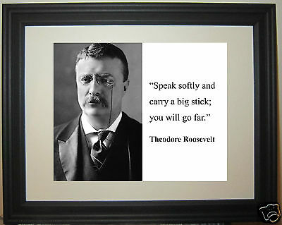 "Theodore Teddy Roosevelt  ""carry  big stick "" Quote Framed Photo Picture #fs2"