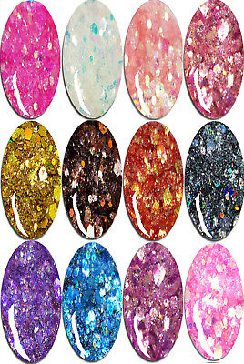 ~~SET~~ 12 Döschen MULTI-GLITZZZER (#MG-161 bis #MG-172) HOLO-IRIDESCENT-MIX