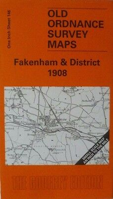 Old Ordnance Survey Maps Fakenham Hillingdon Lexham Litcham area Norfolk  1908