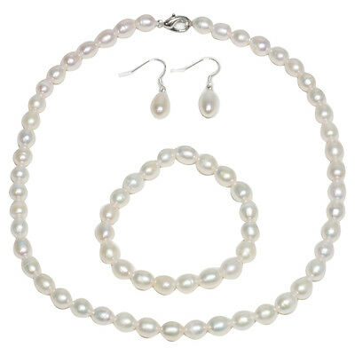Cultured Freshwater White Pearl Necklace Bracelet & Earring Set