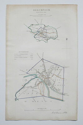 1837 Brecknock Wales Genuine Antique Map Dawson & Report Hand Colouring